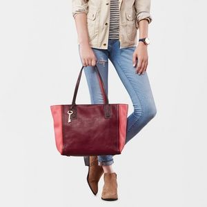 Fossil | Red & Pink Colorblock Emma Tote